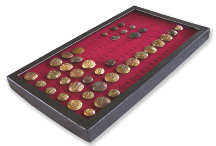 72 Slot Button Display Case Burgundy
