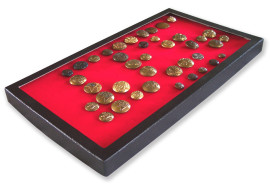72 Slot Button Display Case Red